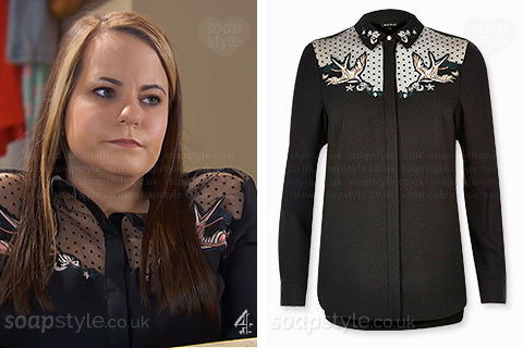 Courtney Campbell's black bird blouse Hollyoaks