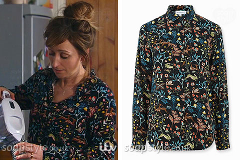 Laurel wearing a floral woodland animal print shirt in Emmerdale
