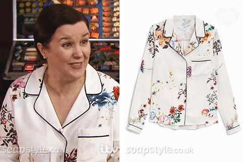 Mary Taylor wearing a floral pyjama shirt blouse in Coronation Street