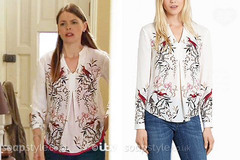 Tracy Barlow wearing a bird print shirt / blouse in Coronation Street