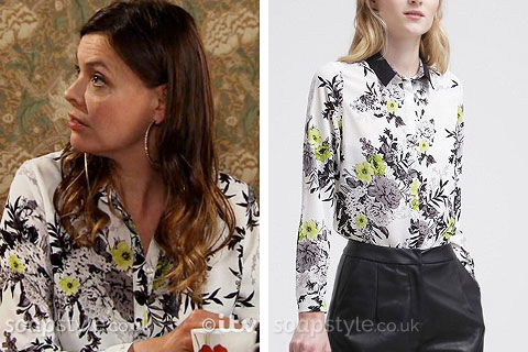 Tracy Barlow wearing her yellow and black flower print shirt in Coronation Street