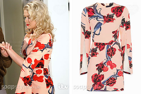 Bethany Platt wearing a pink flower print dress in Coronation Street