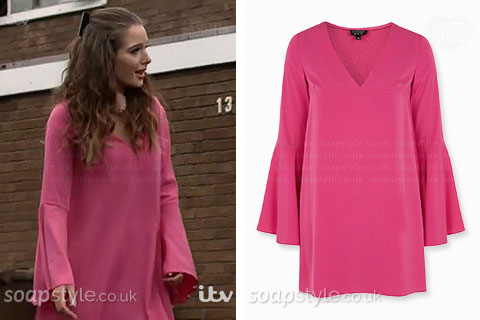 Rosie Webster wearing her hot pink flute sleeve dress in Coronation Street