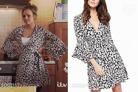 Sarah-Louise Platt wearing her animal print wrap dress in Coronation Street