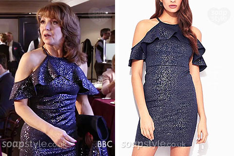 Carmel (Bonnie Langford) wearing her sparkle dress for her date with Max in EastEnders