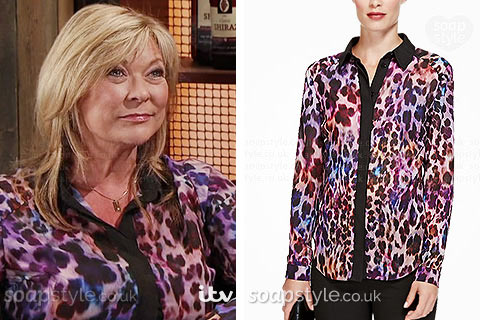 Erica Holroyd (Claire King) wearing her purple animal print shirt / blouse in Coronation Street