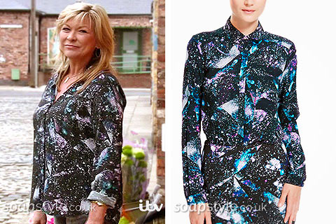 Erica (Claire King) wearing her space print blouse in Coronation Street