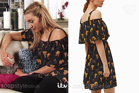 Eva Price (Catherine Tyldesley) wearing her elephant print tunic dress in Coronation Street
