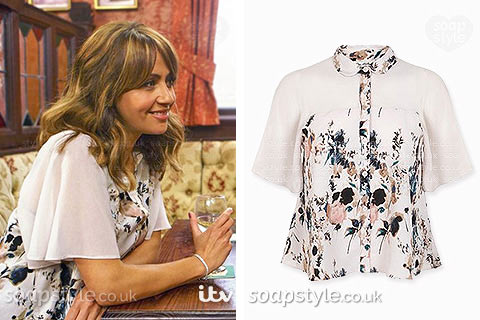 Maria Connor wearing a cropped floral angel sleeve shirt in Coronation Street