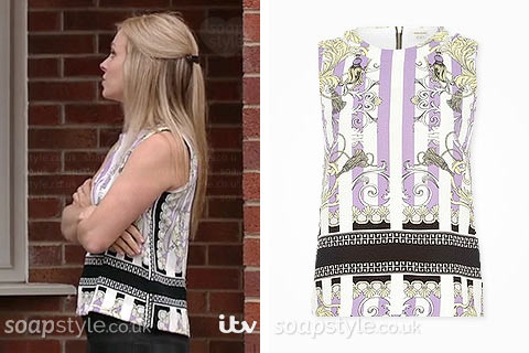 Sarah Platt (Tina O'Brien) wearing her purple stripe sleeveless top in Coronation Street