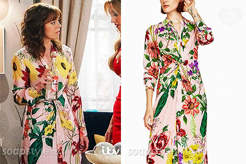 Toyah Battersby wearing a red stripe flower print shirt dress in Coronation Street