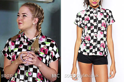 Abi Branning (Lorna Fitzgerald) wearing a black check flower print shirt on TV in EastEnders