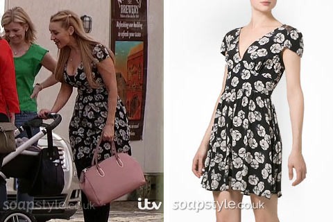 Eva Price (Catherine Tyldesley) wearing her flower print dress with black lace in Corrie