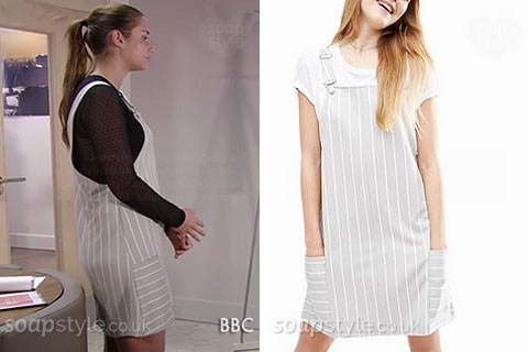 Lauren Branning (Jacqueline Jossa) wearin her grey stripe pinafore dress in EastEnders