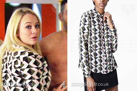 Leela Lomax (Kirsty-Leigh Porter) wearing a geometric print shirt on TV in Hollyoaks