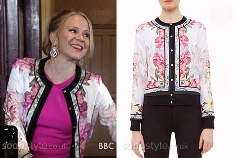 Linda Carter (Kellie Bright) wearing her floral cardigan in EastEnders