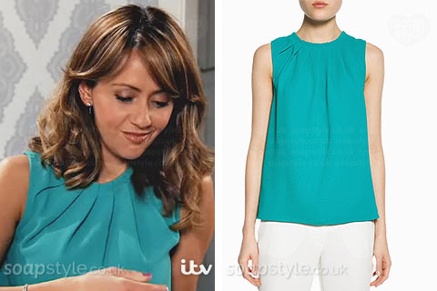 Maria Connor (Samia Longchambon) wearing a green / blue sleeveless top on TV in Coronation Street
