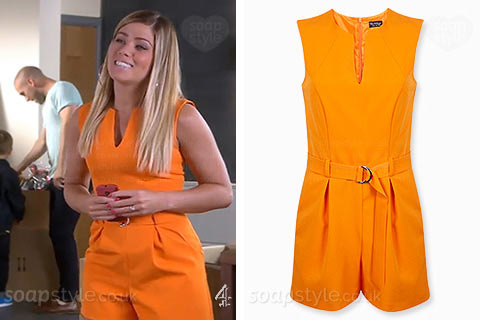 Maxine Minniver (Nikki Sanderson) wearing her orange playsuit on TV in Hollyoaks