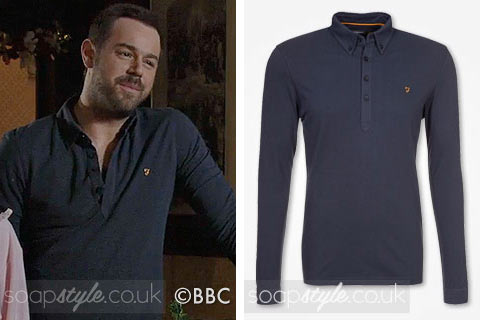 Mick Carter (Danny Dyer) wearing a blue button neck top on TV in EastEnders
