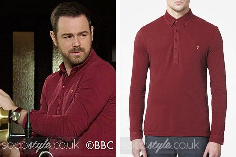 Mick Carter (Danny Dyer) wearing a dark red button neck top on TV in EastEnders
