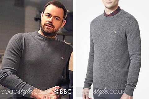 Mick Carter (Danny Dyer) wearing a grey sweater on TV in EastEnders