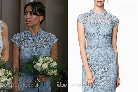 Priya Sharma wearing her light blue lace bridesmaid dress on TV in Emmerdale