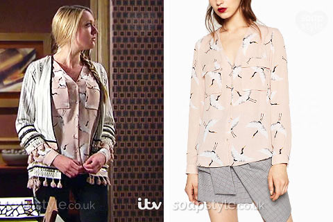 Rebecca White (Emily Head) wearing a bird print blouse in the TV Soap Emmerdale