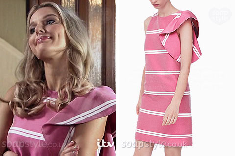 Sophie Webster (Helen Flanagan) wearing her pink stripe ruffle dress on TV in Coronation Street
