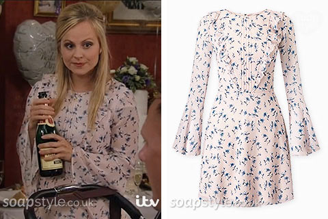 The pink floral print dress worn by Sarah-Louise Platt (Tina O'Brien) in Coronation Street