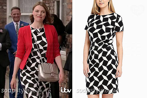 Tracy Barlow wearing her black and white dress for Mary's wedding in Coronation Street