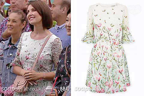 Honey Mitchell wearing her floral dress for Walford in Bloom in EastEnders