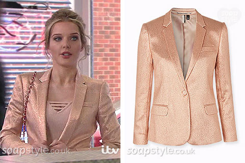 The pink / peach glitter blazer worn by Rosie Webster on TV in Coronation Street