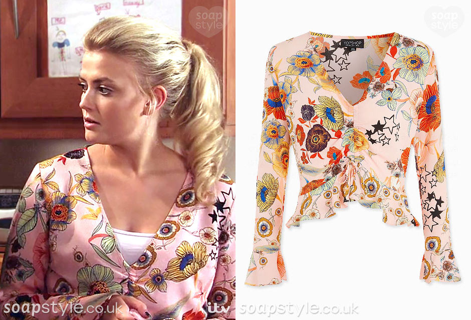Bethany Platt wearing a pink floral top on TV in Coronation Street