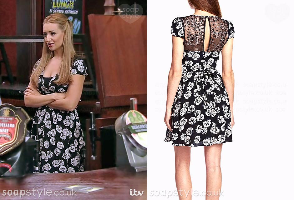 Eva Price wearing her floral print dress on TV in Coronation Street