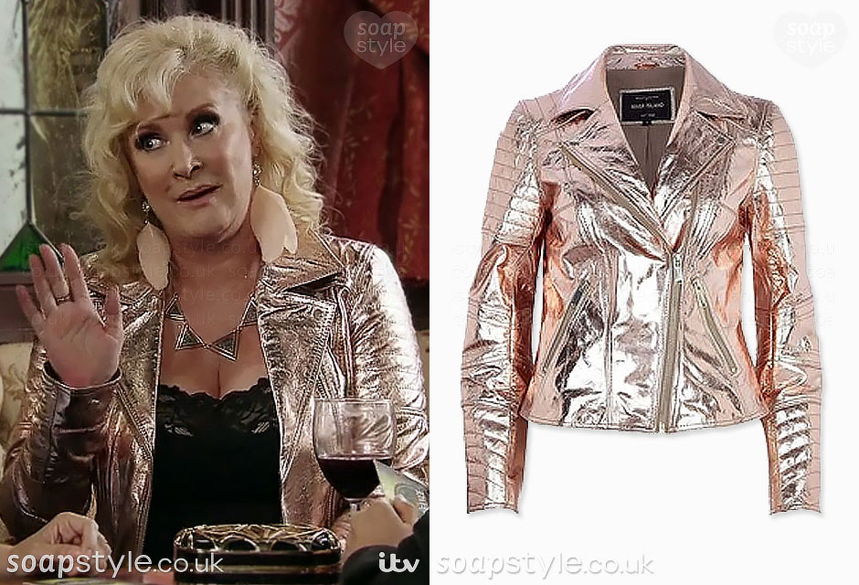 Liz McDonald wearing her metallic pink biker jacket in Coronation Street