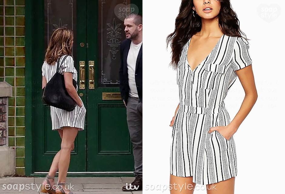 Maria Connor wearing her black stripe playsuit on TV in Coronation Street