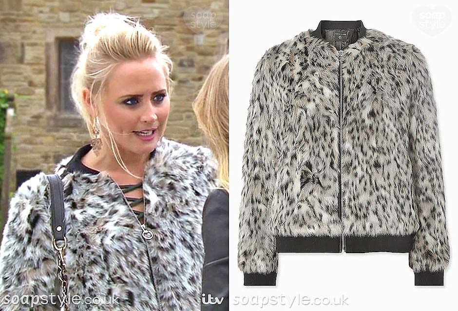 Tracy Metcalfe (Amy Walsh) wearing a faux fur bomber jacket in Emmerdale