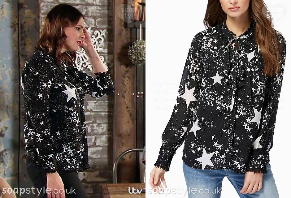 The star print shirt worn by Tracy Barlow in the TV Soap Coronation Street