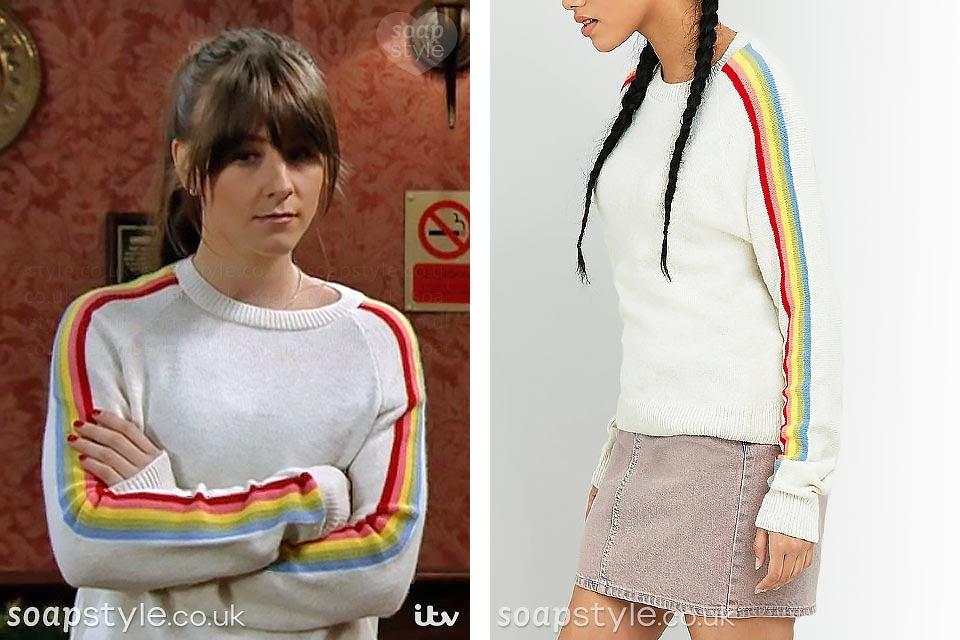 The rainbow sleeve jumper worn by Sophie Webster on TV in Coronation Street