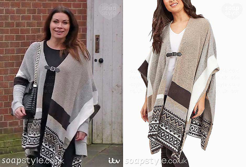 The blanket cape Carla Connor wears in Coronation Street