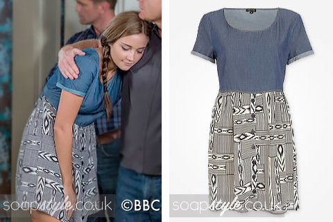 The 2-in-1 chambray and ikat print dress worn by Lauren on TV in EastEnders