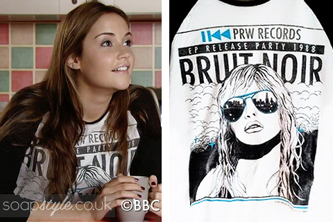 An 80s retro print music tshirt as seen in EastEnders worn by Lauren Branning