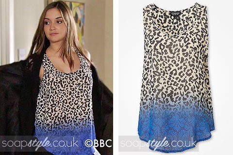 Jacqueline Jossa as Lauren Branning wearing a sleeveless animal print top in EastEnders