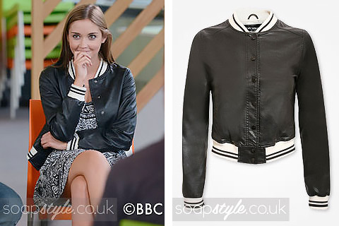Lauren Branning wearing a faux leather bomber jacket on TV in EastEnders