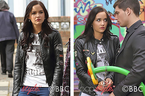 Lauren Branning wearing her favourite biker jacket in the BBC Soap EastEnders