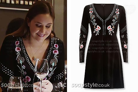 Date night dress with embroidered flowers as seen in EastEnders worn by Lauren