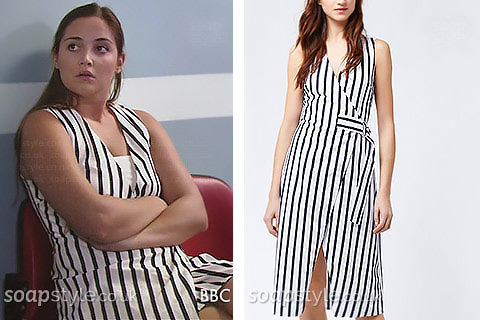 White and black d-ring belted wrap-over dress Lauren Branning wears in EastEnders