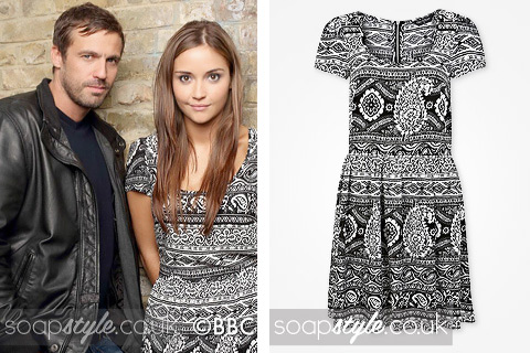 Lauren Branning wearing a black & white paisley dress in EastEnders