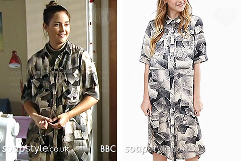 Over-sized shirt dress with black and white spray graphic print worn by Lauren in EastEnders