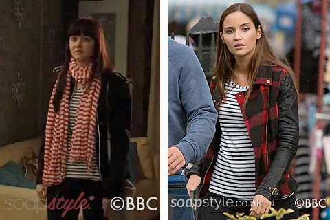 The black and white striped top as seen on Lauren Branning in EastEnders